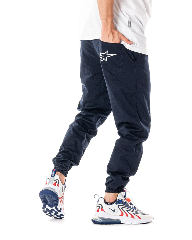Spodnie Materiałowe Jogger 3maj Fason Star Granatowe
